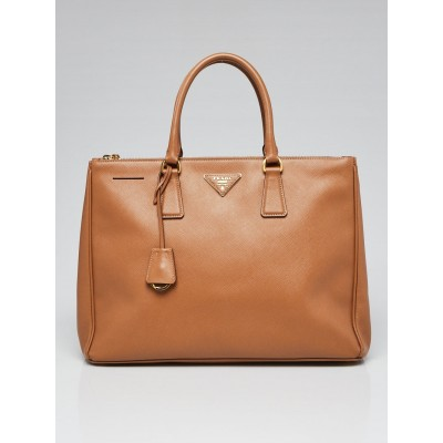 Prada Caramel Saffiano Lux Leather Double Zip Large Tote Bag BN1786