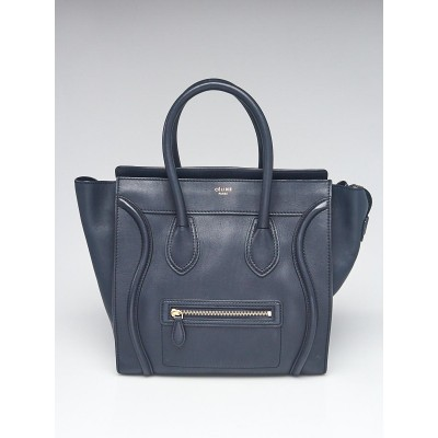 Celine Navy Blue Smooth Calfskin Leather Mini Luggage Tote Bag