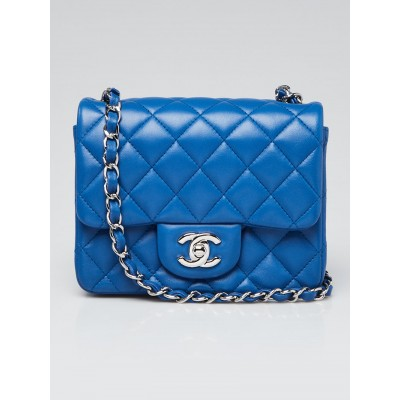 Chanel Blue Quilted Lambskin Leather Classic Square Mini Flap Bag