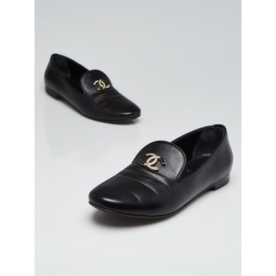 Chanel Black Lambskin Leather CC Moccasin Loafers Size 6.5/37