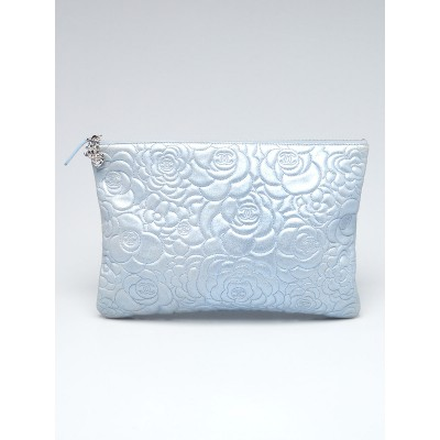 Chanel Silver Metallic Camellia Embossed Leather O-Case Zip Large Pouch