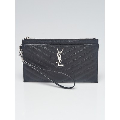 Yves Saint Laurent Black Matelass? Quilted Leather Monogram Large Bill Pouch
