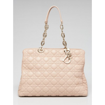 Christian Dior Light Pink Cannage Quilted Lambskin Leather Soft Shopping Tote Bag