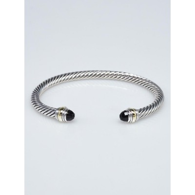David Yurman 7mm Sterling Silver and 14k Gold with Black Onyx Cable Classics Bracelet