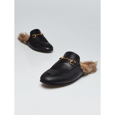 Gucci Black Leather and Fur Princetown Mules Flats Size 7/37.5
