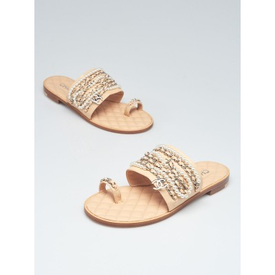 Chanel Beige Leather Chain and Pearl Flat Sandals Size 7.5/38