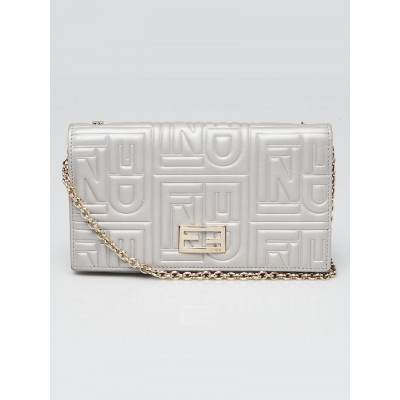 Fendi Silver Embossed Leather Chain Clutch Bag 8M0219