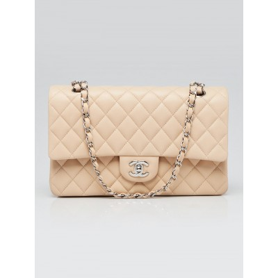 Chanel Beige Clair Quilted Lambskin Leather Classic Medium Double Flap Bag