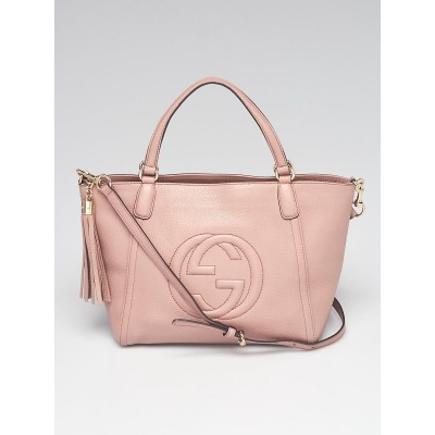 Gucci Pink Pebbled Leather Soho Top Handle Bag w/Strap
