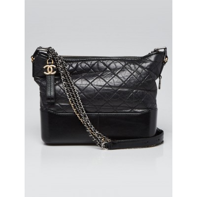 Chanel Black Quilted Leather Gabrielle Medium Hobo Bag