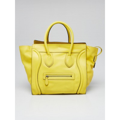 Celine Yellow Drummed Leather Mini Luggage Tote Bag