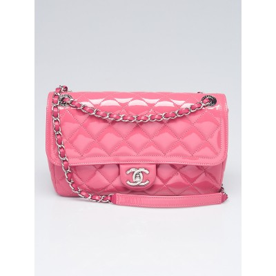 Chanel Pink Quilted Patent Leather Coco Shine Medium Flap Bag