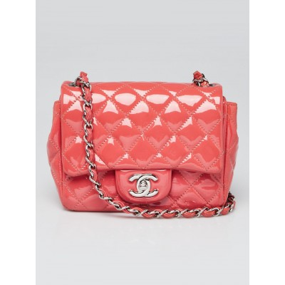 Chanel Pink Quilted Patent Leather Classic Square Mini Flap Bag
