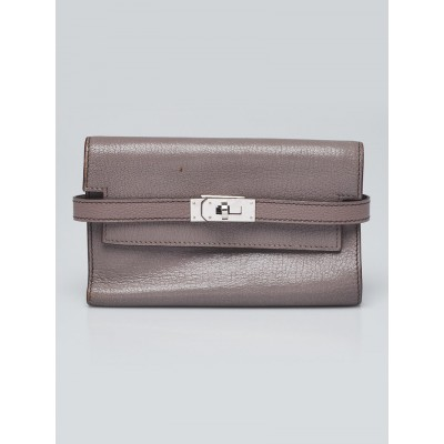 Hermes Griolet Chevre Mysore Palladium Plated Kelly Depliant Medium Verso Wallet