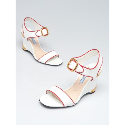 Prada White Patent Leather Open Toe Wedge Sandals Size 5.5/36