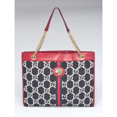 Gucci Red Leather GG Tweed Large Linea Rajah Tote Bag