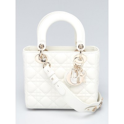 Christian Dior White Cannage Quilted Lambskin Leather My ABCDior Lady Bag