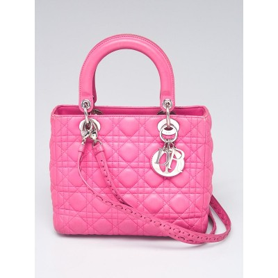 Christian Dior Pink Cannage Quilted Lambskin Leather Medium Lady Dior Bag