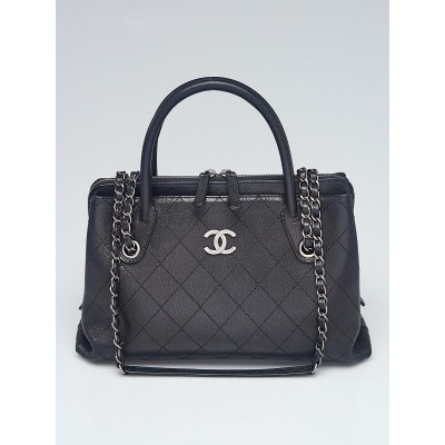 Chanel Black Quilted Caviar Leather CC Chain Tote Bag
