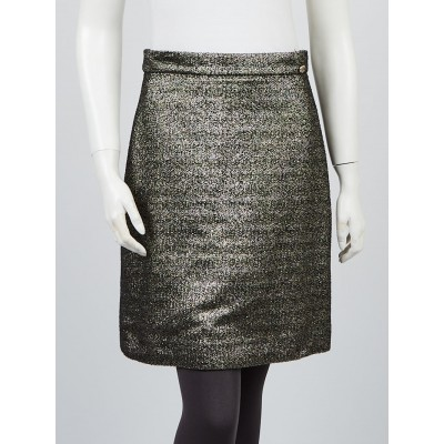 Chanel Black/Gold Metallic Tweed Skirt Size 8/40