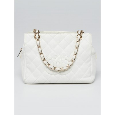 Chanel White Quilted Caviar Leather Petite Timeless Shopping Tote Bag