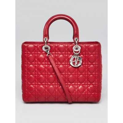 Christian Dior Red Cannage Quilted Lambskin Leather Large Lady Dior Tote Bag