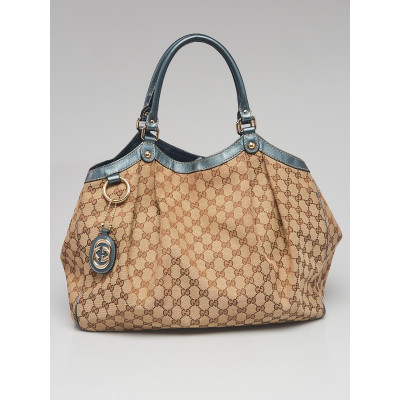 Gucci Beige/Blue GG Canvas Large Sukey Tote Bag