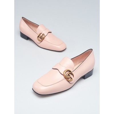Gucci Pink Leather Double G Loafers Size 8/38.5