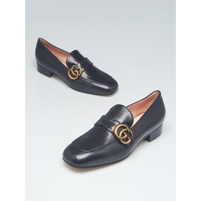 Gucci Black Leather Double G Loafers Size 8/38.5