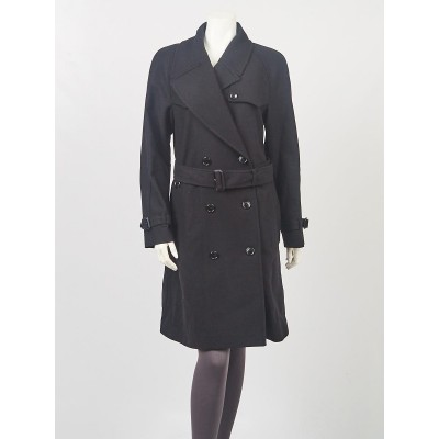 Burberry London Black Wool Blend Trench Coat Size L