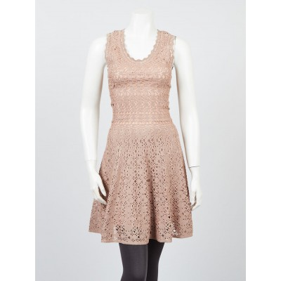 Alaïa Rose Gold Perforated Knit Sleeveless Dress Size 4/38