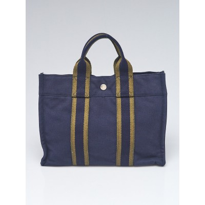 Hermes Navy Blue/Green Canvas Fourre Tout Holdall PM Tote Bag