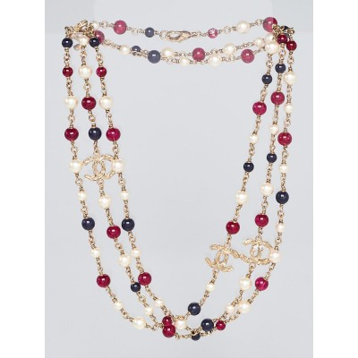 Chanel Red/Blue Beads and Glass Pearl CC Long Necklace