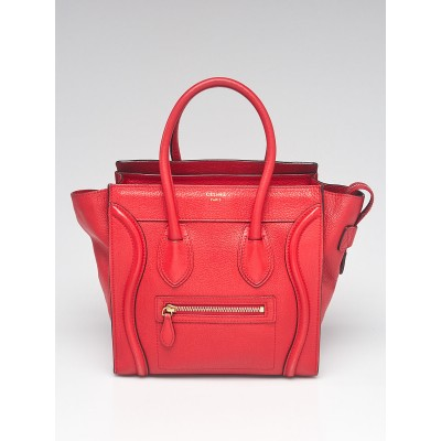 Celine Red Drummed Leather Micro Luggage Tote Bag