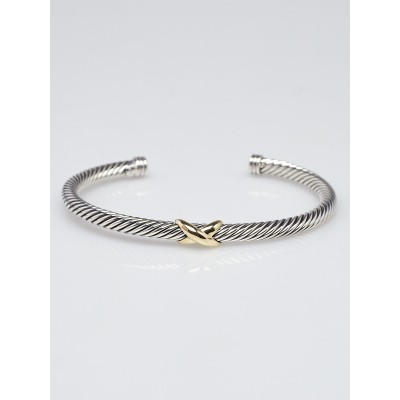 David Yurman 4mm Sterling Silver and 18k Gold Cable Crossover X Bracelet