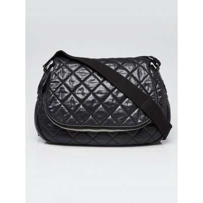 Chanel Black Quilted Coated Canvas Coco Cocoon Large Messenger Bag