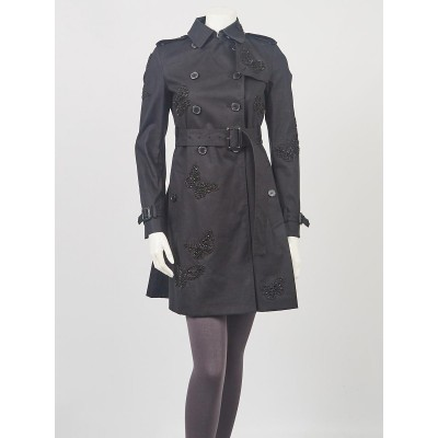 Valentino Black Cotton Beaded Butterfly Trench Coat Size 00