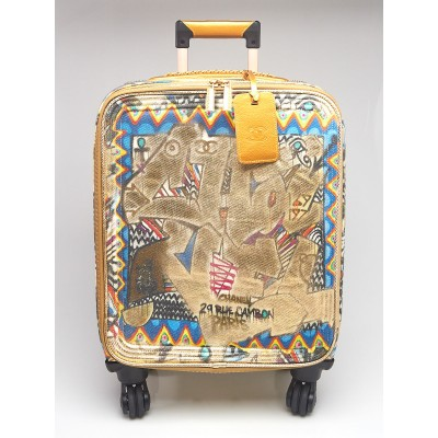 Chanel Gold/Multicolor Canvas/Leather Street Spirit Trolley Suitcase