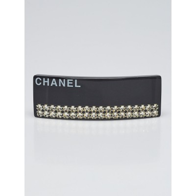 Chanel Black Resin and Crystal CC Large Barrette