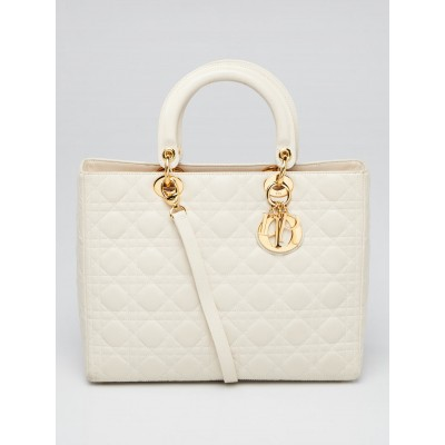 Christian Dior Dark White Cannage Quilted Lambskin Leather Large Lady Dior Bag