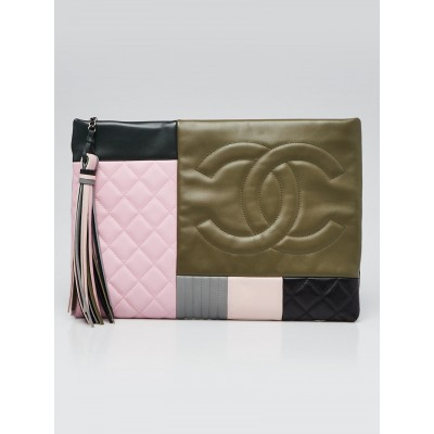 Chanel Pink/Green/Black Quilted Calfskin Leather Coco Cuba Patchwork O-Case Large Zip Pouch