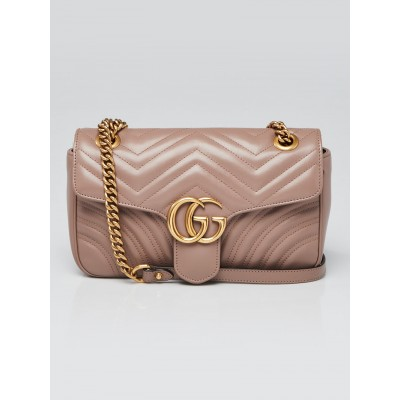 Gucci Dusty Pink Quilted Leather Marmont Small Matelasse Shoulder Bag