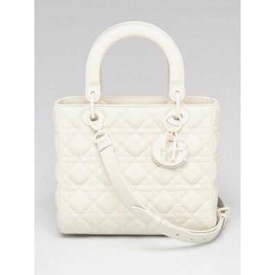 Christian Dior White Ultramatte Cannage Quilted Calfskin Leather Medium Lady Dior Bag