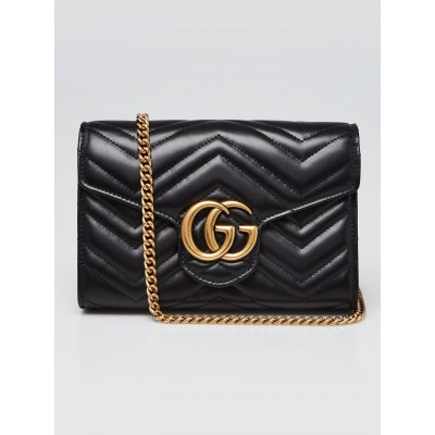 Gucci Black Leather GG Marmont 2.0 Chain Wallet Clutch Bag