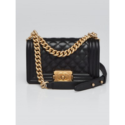 Chanel Black Quilted Caviar Leather Small Boy Bag
