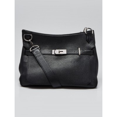 Hermes 34cm Black Clemence Leather Palladium Plated Jypsiere Bag