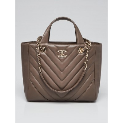 Chanel Khaki Chevron Quilted Lambskin Leather Statement Tote Bag