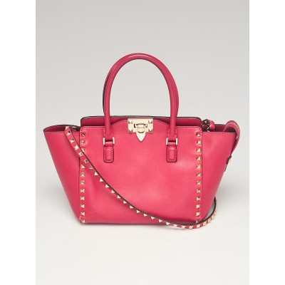 Valentino Pink Leather Rockstud Small Double Handle Tote Bag