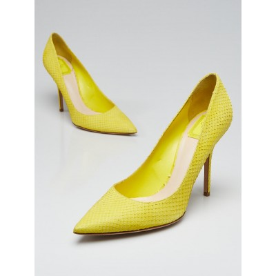 Christian Dior Yellow Leather Faux Snakeskin Pumps Size 10/40.5