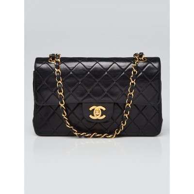 Chanel Black Quilted Lambskin Leather Classic Small Double Flap Bag